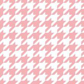 Houndstooth seamless pink vector pattern. Traditional Scottish plaid fabric collection for colorful website background or desktop wallpaper in pink and white color. — Stock Vector