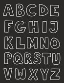 White alphabet letters vector hand drawn set isolated on dark background. — Stock Vector