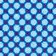 Seamless vector pattern with big blue polka dots on a dark navy blue background. — Vecteur