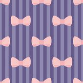 Seamless vector pattern with pastel pink bows on a navy blue and violet strip background — 图库矢量图片