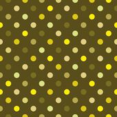 Seamless dark vector pattern colorful yellow and green polka dots on green background — Stock Vector