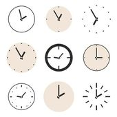 Clock vector icon set. Beige and black clocks illustration collection isolated on white background — Stock Vector