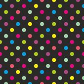 Seamless dark vector pattern or texture with colorful green, yellow, blue, pink and violet polka dots on black background. — Stockvector