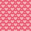 Pink vector background with hearts and polka dots. Cute seamless pattern — Stock Vector