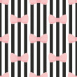 Seamless vector pattern with pastel pink bows on a black and white strip background. — Stock Vector