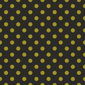 Seamless vector dark pattern or texture with green polka dots on black background. — Stockvector