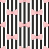 Seamless vector pattern with pastel pink bows on a black and white strip background. — Vector de stock