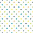 Seamless vector sweet pattern or texture with colorful green, blue, yellow and pastel oragne polka dots on white background for kids background — Stock Vector
