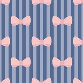 Seamless vector pattern with pastel pink bows on a navy blue strips background. — Stockvektor