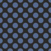Seamless vector pattern with big dark navy blue polka dots on black background. — Vector de stock