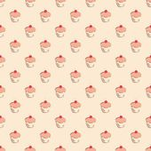 Seamless vector pattern or texture with little cherry cupcakes, hand drawn muffins and sweet cake dessert. — Cтоковый вектор