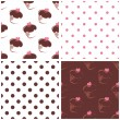 Seamless vector background set with polka dots and heart chocolate cupcakes. — Stock Vector