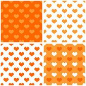 Seamless orange and white vector background set with hearts. Full of love pattern for valentines desktop wallpaper or website design in white and orange color — Stock Vector