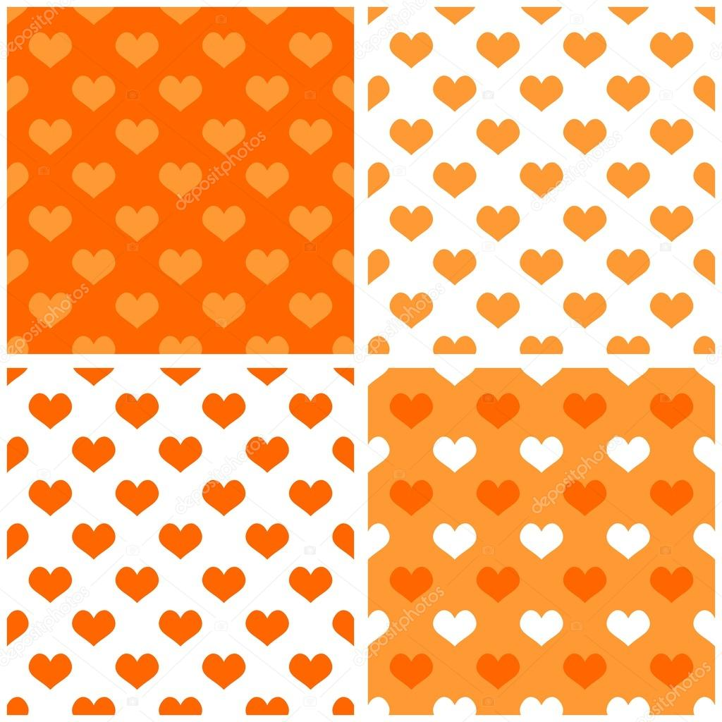 Seamless Orange And White Vector Background Set With