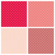 Pastel seamless vector patterns or textures set with white polka dots on sweet colorful pink, purple and red background. — Stock Vector #40282599