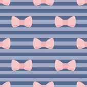 Seamless vector pattern with pastel pink bows on a navy blue strips background. — 图库矢量图片