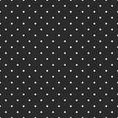 Seamless vector dark pattern with white polka dots on black background. — Vettoriale Stock