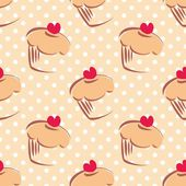 Seamless vector pattern or texture with cupcakes, muffins, sweet cake with red heart on top and white polka dots on beige background with sweets for desktop wallpaper or culinary blog website — Stockvector