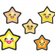 Japanese manga kawaii stars hand drawn vector illustration isolated on white background. — Stock Vector