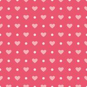 Pink vector background with hearts and polka dots. Cute seamless pattern for valentines desktop wallpaper or lovely website design. — Stockvektor
