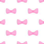 Seamless vector pattern with big pink bows isolated on a white background. — Stock Vector