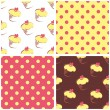 Seamless vector background set with polka dots and cupcakes. Yellow, pink and brown sweet pattern — Stock Vector