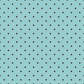 Seamless vector pattern with black polka dots on a sea mint blue green background. — Stock Vector