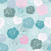 Seamless floral vector pattern with pink, yellow, green, white and blue retro roses on pastel blue background. — Stock Vector
