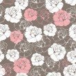 Seamless retro vector floral pattern with classic white and pink roses on brown background. Beautiful abstract vintage texture with flowers and cute background for web design or desktop wallpaper. — Stock Vector