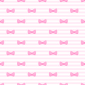 Seamless vector pattern with bows on a pastel pink stripes background. — Stock Vector