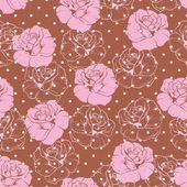 Seamless vector floral pattern elegant pink rose background. Beautiful abstract texture with pink flowers and polka dots on dark brown background — Stock Vector