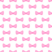 Seamless vector pattern with pastel pink bows on a white background — Stock Vector