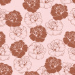 Seamless vector floral pattern with pink and dark, chocolate brown roses on sweet baby pink background. — Stock Vector