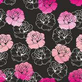 Seamless dark vector floral pattern with pink and white gradient roses on black background. Beautiful abstract vintage texture with pink flowers and background for desktop wallpaper or website design — Stock Vector