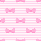Seamless vector pattern with bows on a pastel pink strips background for desktop wallpaper — Vecteur