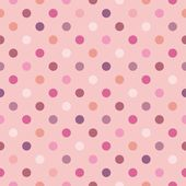 Colorful pastel polka dots on baby pink vector background - retro seamless pattern for backgrounds — Wektor stockowy