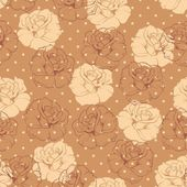 Seamless retro floral vector pattern with beige and chocolate brown roses on brown background with polka dots. — Stock Vector