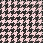 Houndstooth seamless vector pastel pink and black pattern or background. — Stock Vector