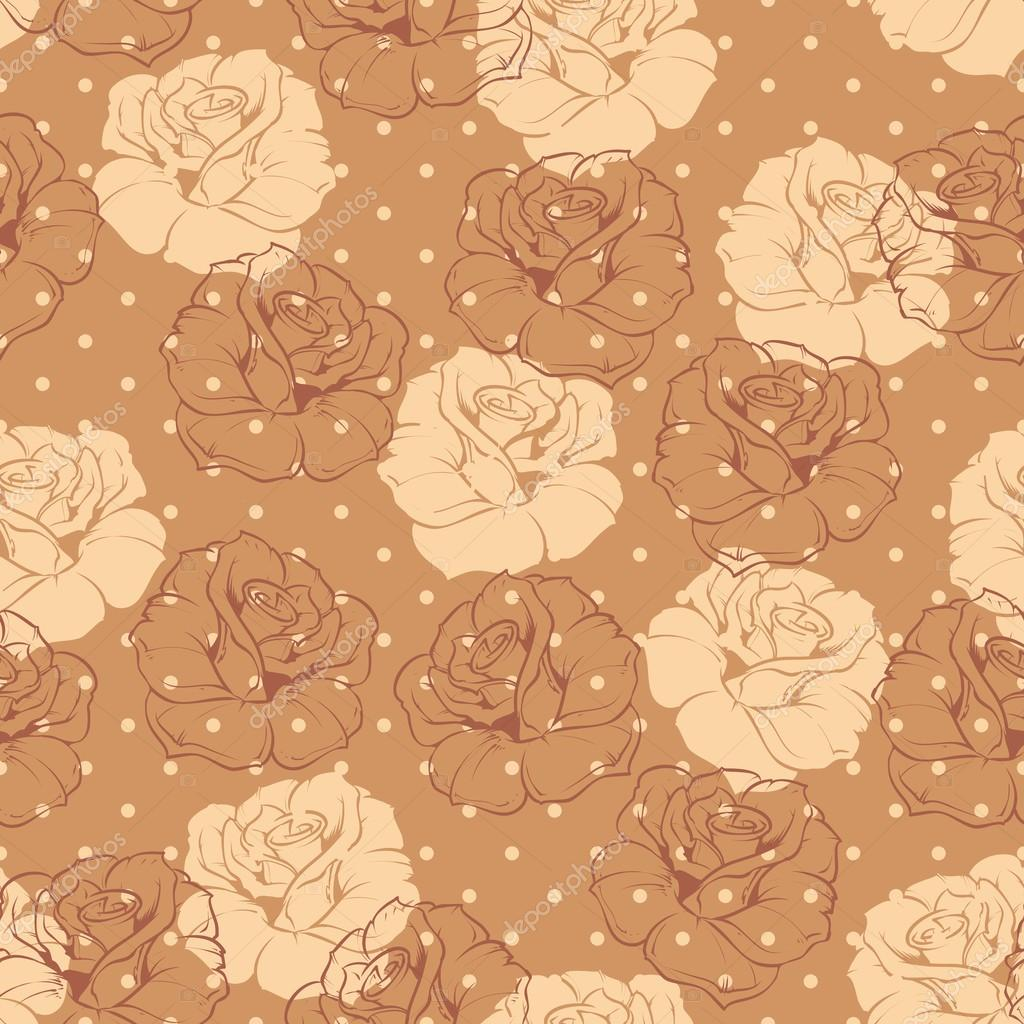 vintage floral brown css html seamless retro floral vector pattern with beige and