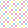 Seamless vector pattern or texture with colorful green, blue, yellow, red and pink polka dots on white background — Stock Vector #41820197