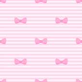 Seamless vector pattern with bows on a pastel pink strips background. For cards, invitations, wedding or baby shower albums, backgrounds, arts and scrapbooks. — Stock Vector