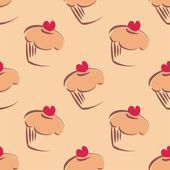 Vetor sem costura padrão ou textura com grandes cupcakes, muffins, bolo doce e coração vermelho no topo. fundo com doces para cartão, convite, dia dos namorados, papel de parede, desktop ou culinária blog site — Vetor de Stock