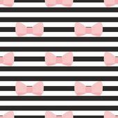 Seamless vector pattern with pastel pink bows on a black and white sailor stripes background. For desktop wallpaper, cute kids background or website design — Vetor de Stock