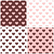 Seamless vector background set with hearts. Full of love pattern for valentines desktop wallpaper or website design in white, brown and pastel baby pink color — Stock Vector #42423167