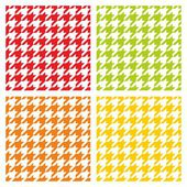 Houndstooth seamless vector pattern set. Traditional dogtooth tartan tweed collection for colorful website background or spring desktop wallpaper in yellow, green, red, white and orange color. — Stock Vector