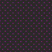 Seamless vector pattern or texture with neon pink polka dots on black background — Stockvector