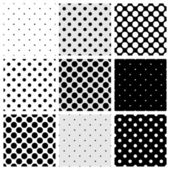 Seamless black, white and grey vector pattern or background set with big and small polka dots. For desktop wallpaper and website design. — Stock Vector
