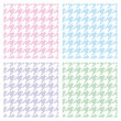 Pastel houndstooth vector seamless pink, blue, green, violet and white pattern set. Traditional Scottish plaid fabric collection for baby website background, kids or desktop wallpaper. — Stock Vector