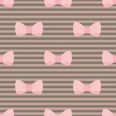 Seamless vector pattern with pastel pink bows on a chocolate brown stripes background. For desktop wallpaper, cute kids background or website design — Stock Vector