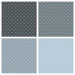 Seamless vector blue pattern or background set with white polka dots on pastel blue and navy grey background. Texture collection for desktop wallpaper or website design — Vettoriale Stock